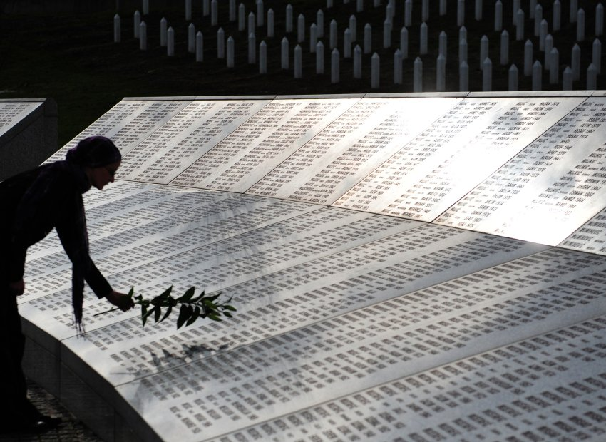 SREBRENICA memorial to 8,000 murdered Muslims